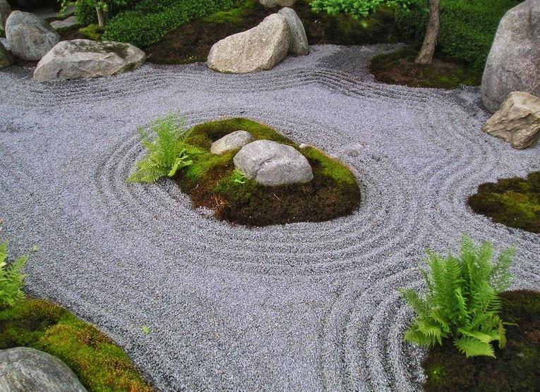Рисунки на песке в саду: аренарий для медитации