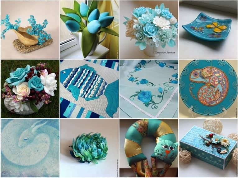 Бирюзовый цвет в деталях интерьера: бабочки, цветы, рыбки и коты на фото