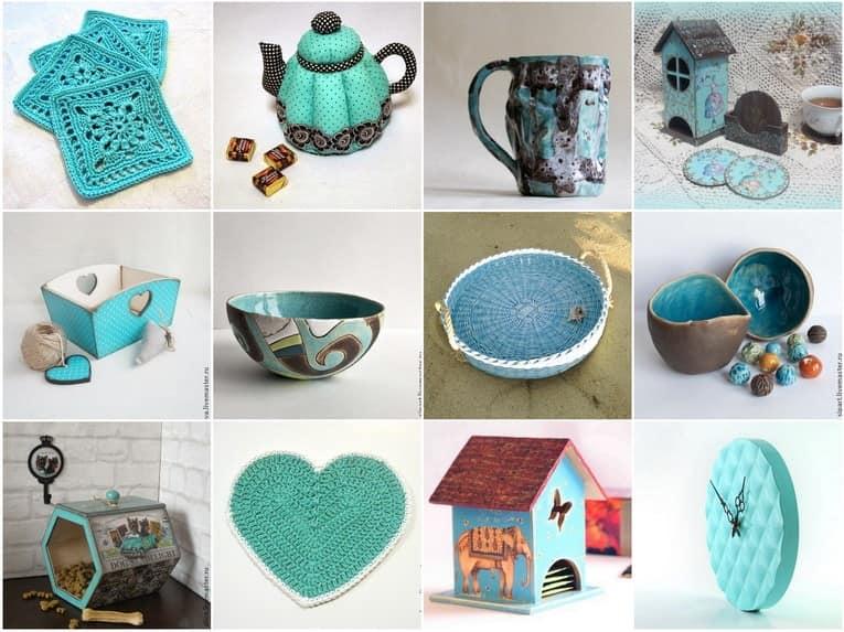 Посуда, текстиль и аксессуары бирюзового цвета для кухни фото