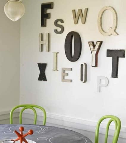 Асиметричный способ размещения букв на стене