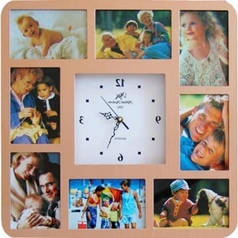 Настенные часы с фоторамками для семейных фотографий