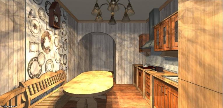 """Часы """"с кукушкой """" вполне совместимы с кухней из дерева"""
