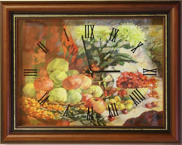 Часы-натюрморт, идеальны для кухни в стиле кантри