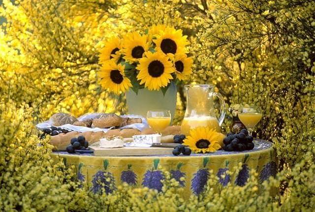 Украшение стола для пикника в деревенском стиле - декоративные подсолнухи