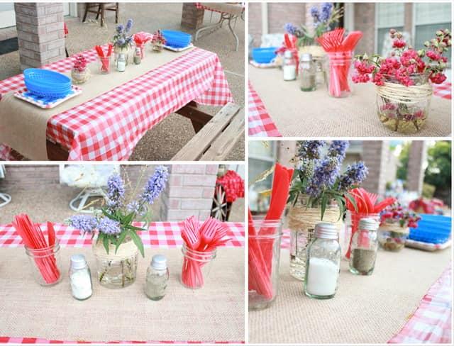 Скатерть в клеточку для сервировки стола на пикнике в стиле кантри