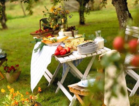 Украшение стола на пикнике