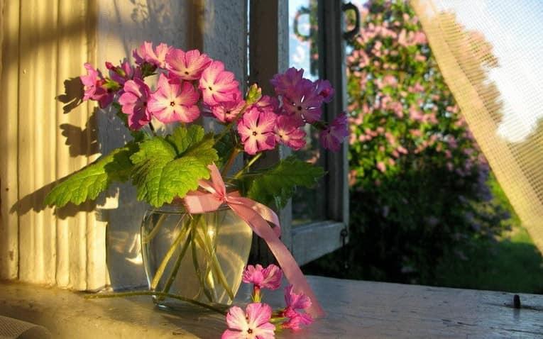 Украшаем подоконник вазой с цветами