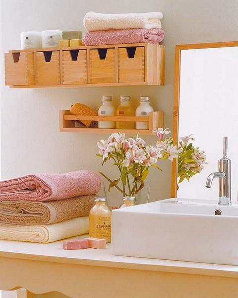 Хранение вещей на полках в ванной в коробках фото