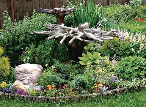 Коряги в саду: рутарий в ландшафтном дизайне фото