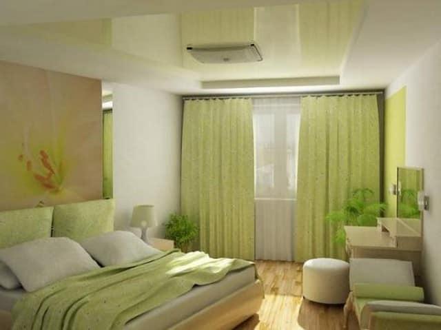 Шторы природного зеленого оттенка, гармонирующие с общим стилем интерьера спальни