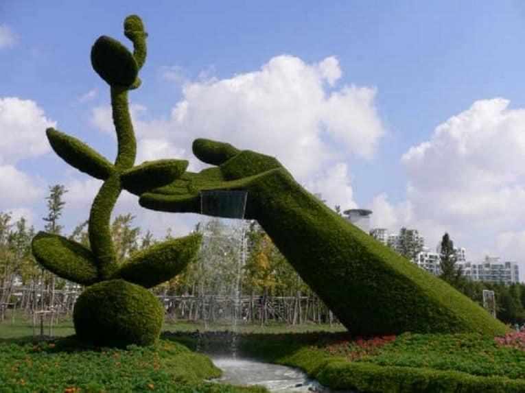Топиарий фонтан: скульптуры из растений