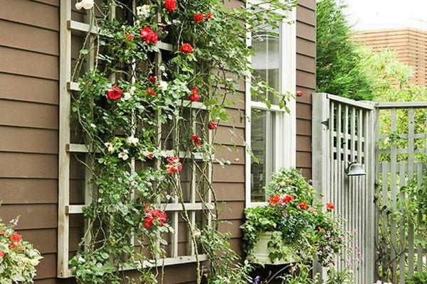 Декор решеток на окнах с помощью зеленых растений и цветов