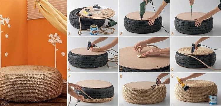 Пуфик из шины и веревки - поэтапная инструкция