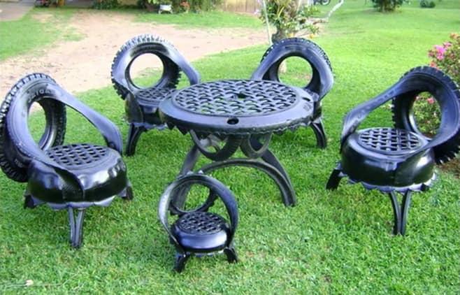 Садовая мебель из шин своими руками