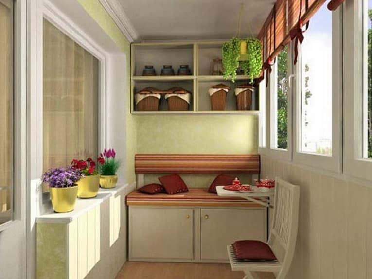 Идеи для хранения овощей, велосипеда, лыж и других вещей на балконе (30 фото)