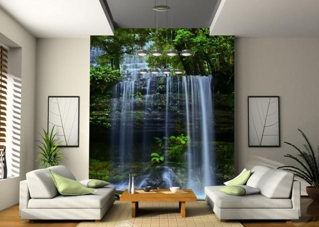Фотообои с изображением воды и зелени как основной элемент эко-стиля