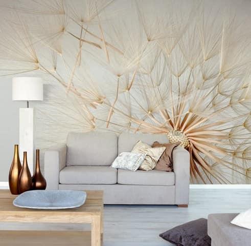 Фотообои природных оттенков для гостиной в стиле минимализма