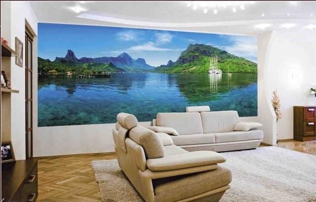 Фотообои с природным пейзажем для гостиной в классическом стиле