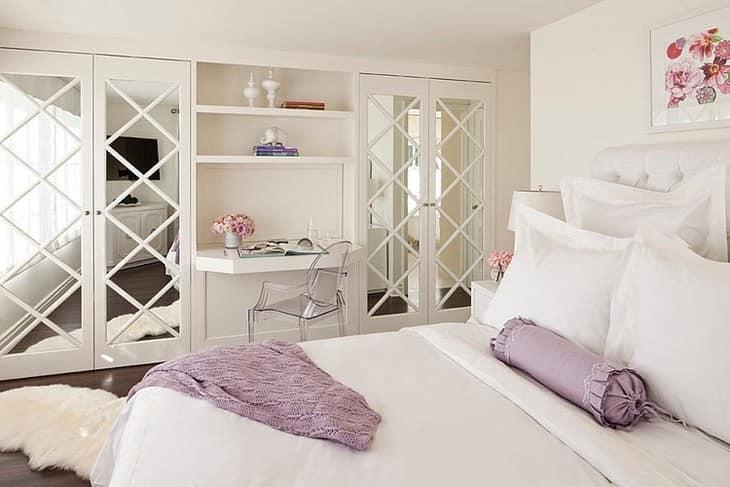 Белоснежная спальня на вилле в Голливуде