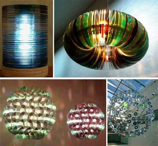 Оригинальные приборы для освещения из CD дисков