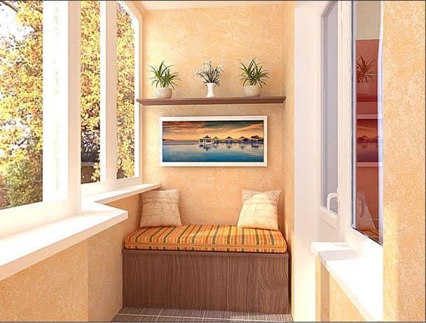На остекленных балконах и лоджиях лучше всего использовать встроенную и угловую мебель