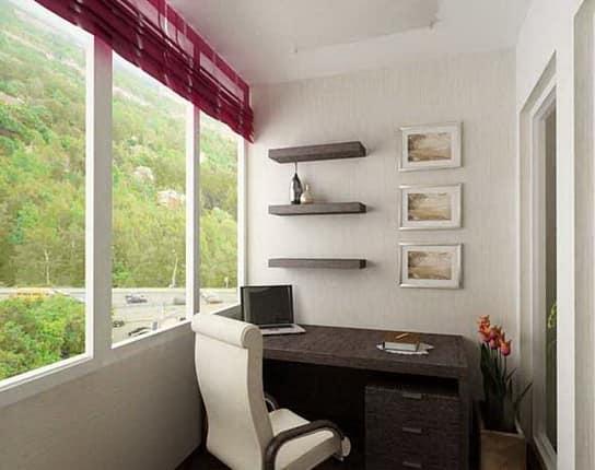 Встроенная мебель способна превратить лоджию от спальни до рабочего кабинета