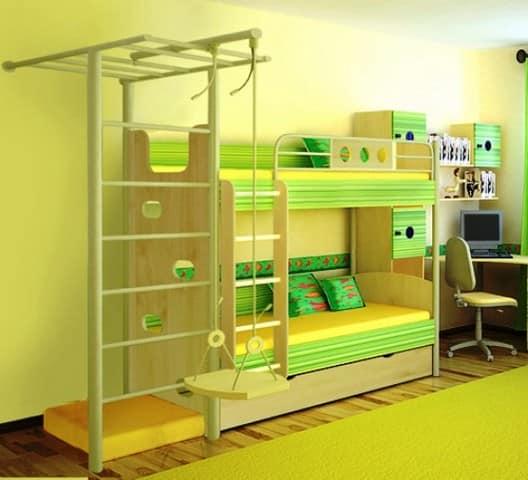 Комбинированная детская мебель, включающая элементы спортивного уголка