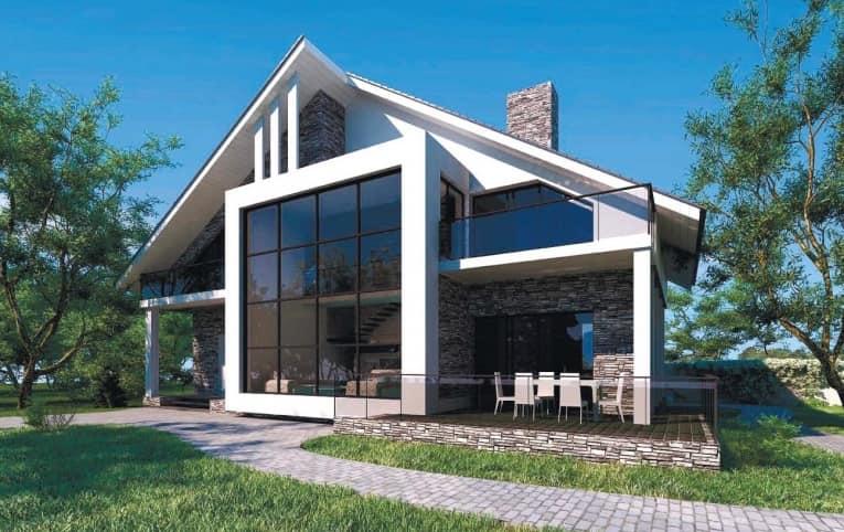 В доме построенному по технологии фахверк много света и простора