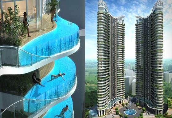 Бассейн-балкон появился впервые в гостиничном комплексе в Мумбае
