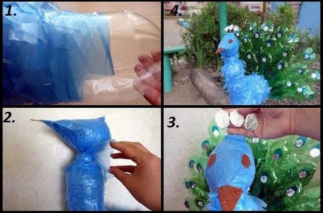 Изготовление павлина из пластиковых бутылок. Этап 3