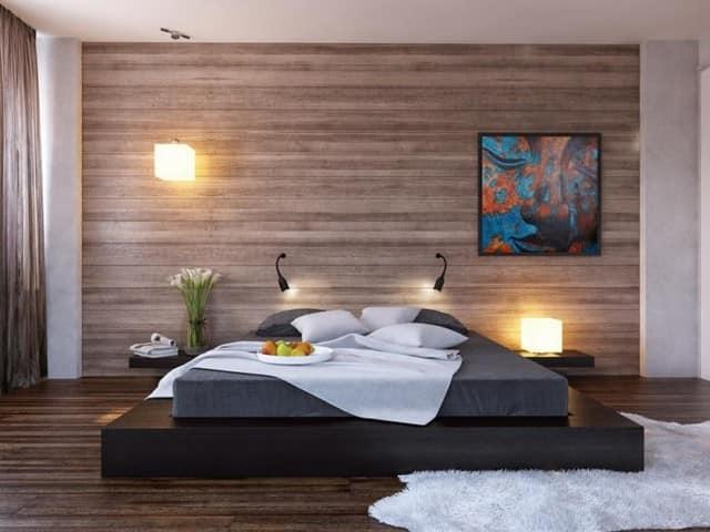 Цвет и фактура деревянной стены зависит от личных предпочтений и от конкретного дизайна интерьера