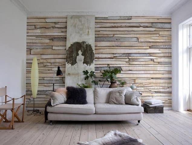 Деревянная стена в интерьере в скандинавском стиле