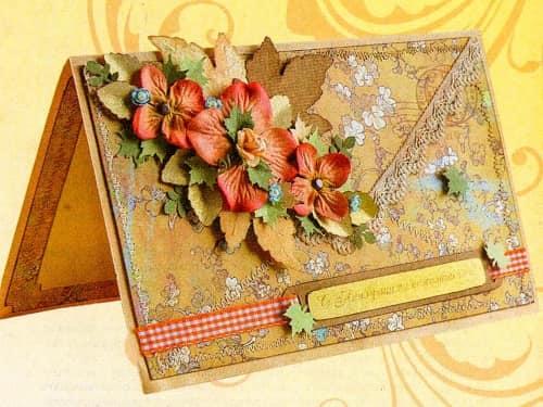 Осенняя открытка в технике скрапбукинг