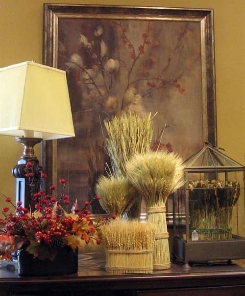 Колоски в осеннем декоре дома