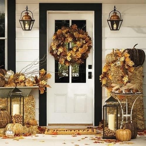 Осенний декор дома из листьев и даров природы