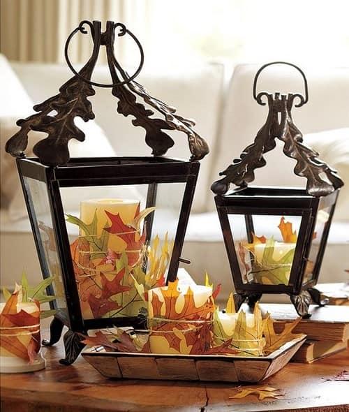 Декор дома: декоративные фонарики и осенние листья