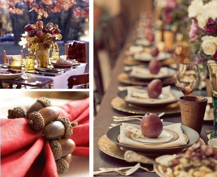 Орехи и желуди для декора осеннего праздничного стола