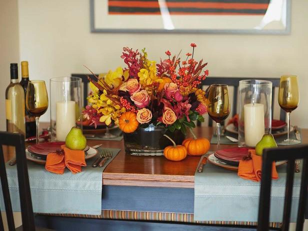 Осенняя сервировка стола - фото