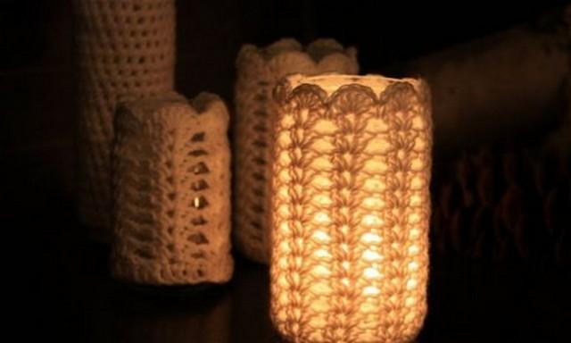 Декор банки с помощью вязания