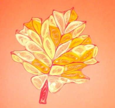 Осенний кленовый лист в технике квиллинг