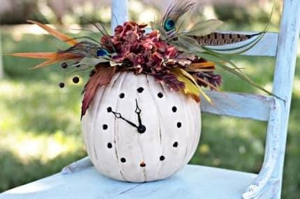 Ваза для цветов - часы из тыквы своими руками