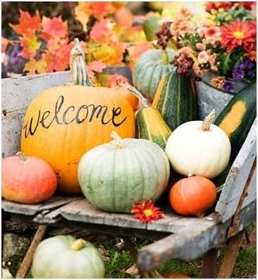 Welcome тыква для осеннего декора сада