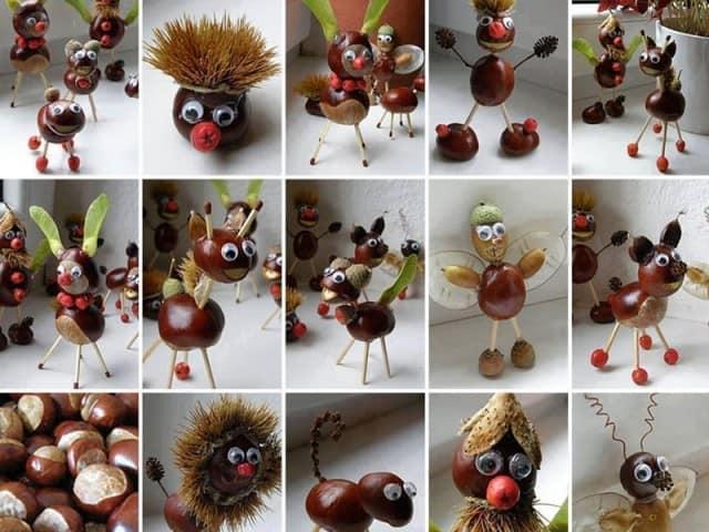 Животные из каштанов