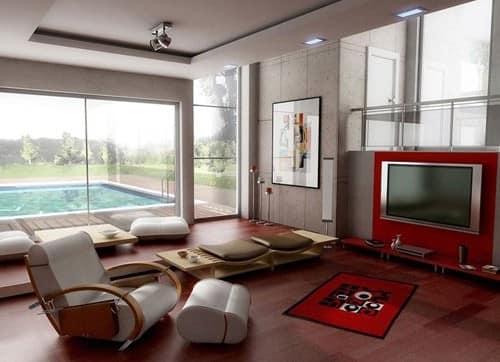 Гостиная европейской квартиры в японском стиле