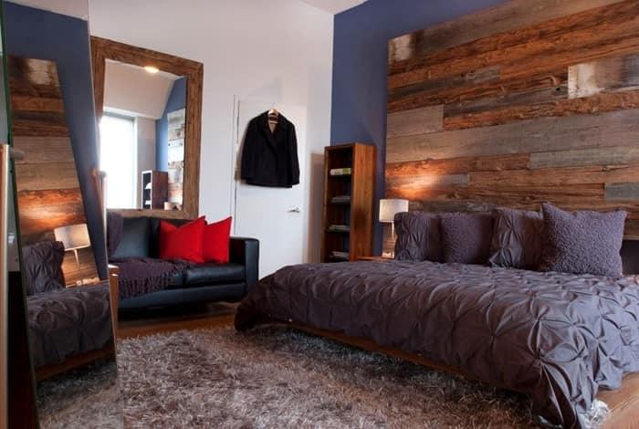 Деревянные элементы в интерьере спальни