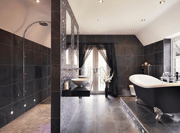 Черный цвет в интерьере просторной ванной