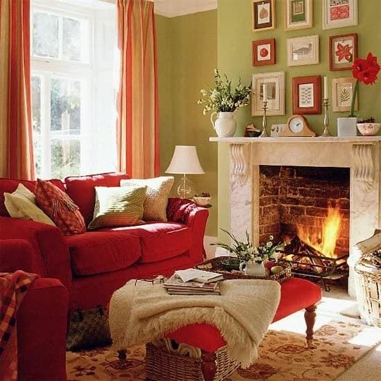 Красный цвет в зимнем интерьере