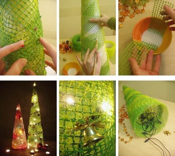 Процесс изготовления светящейся елки