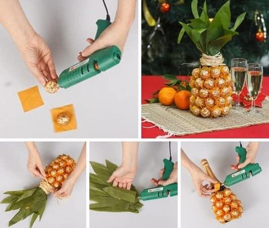 Процесс изготовления ананаса из бутылки шампанского