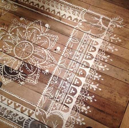 Роспись по полу с лаковым покрытием